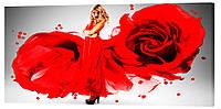 Картина на полотні Декор Карпати Жінка троянда 50х100 см (l46)