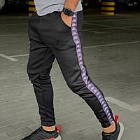 Мужские спортивные штаны утеплённые на флисе Kappa черные