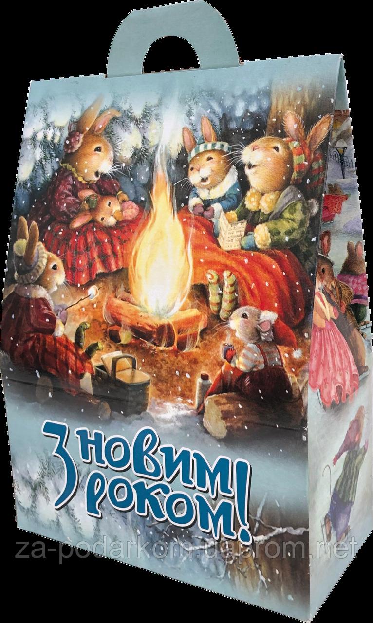 Упаковка новорічна Казкова Хатинка для цукерок 500-600 г оптом від 500шт