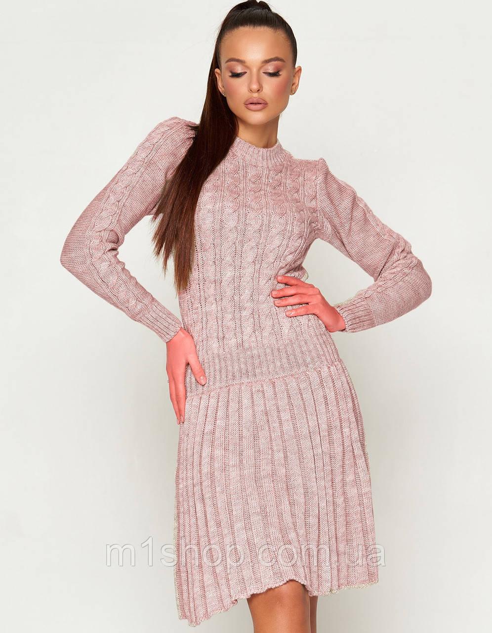 Женское теплое вязаное платье (ПЛ02jd)