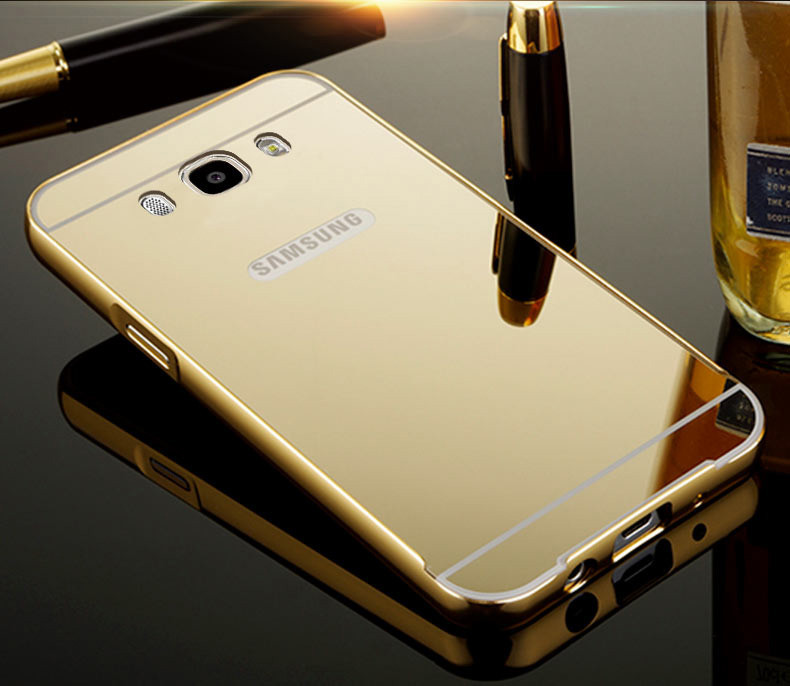 Чехол для Galaxy J7 2016 / Samsung J710 зеркальный золотистый
