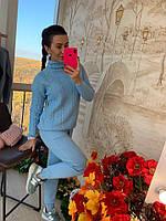 Зимний вязаный костюм голубого цвета, фото 1
