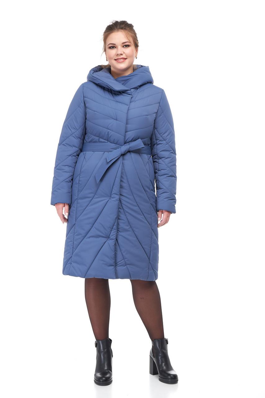 Синяя Женская зимняя куртка пуховик по колено на морозы 42-54 большие размеры