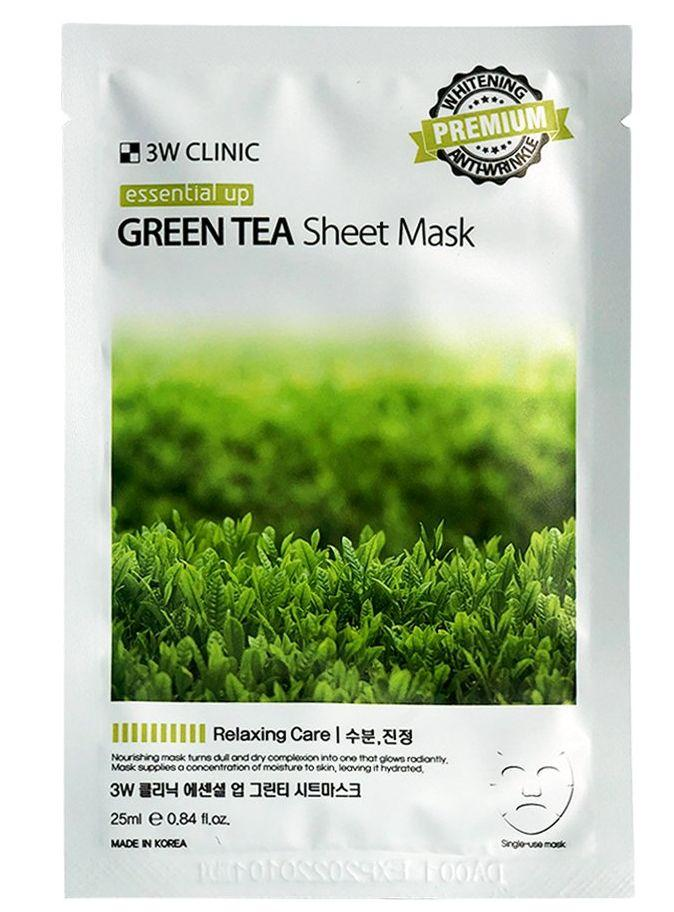 Тканевая маска с зеленым чаем 3W CLINIC Essential Up Green Tea sheet mask