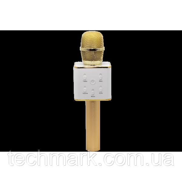 Беспроводной караоке микрофон UTM с динамиками в чехле Bluetooth USB Q7 Gold