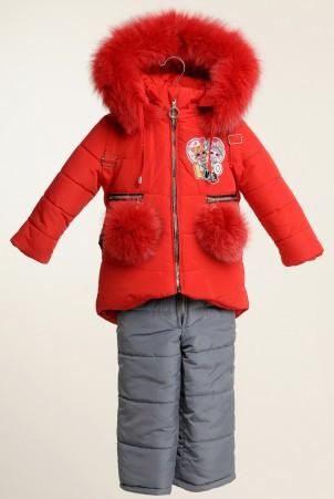 Детский зимний комбинезон для девочки Лола с рюкзачком | размеры  86-110