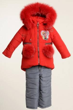 Детский зимний комбинезон для девочки Лола с рюкзачком | размеры  86-110, фото 2