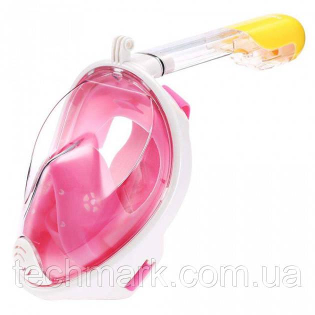 Полнолицевая панорамная маска для плавания Free Breath (L/XL) Розовая с креплением для камеры