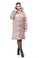 Женское модное пальто пуховик зимний ниже колена 42-54 большие размеры
