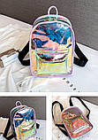 Женский маленький голографический прозрачный мини рюкзак детский белый, фото 2