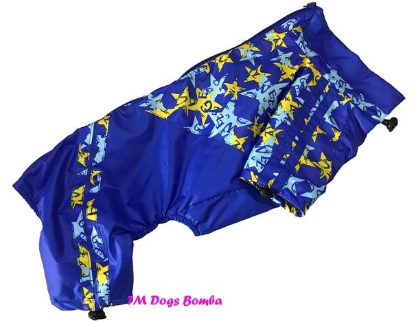 Дождевик для такс Змейка голубая в звёзды DogsBomba