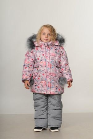 Детский зимний комбинезон для девочки «Love Paris» | размеры  92-110