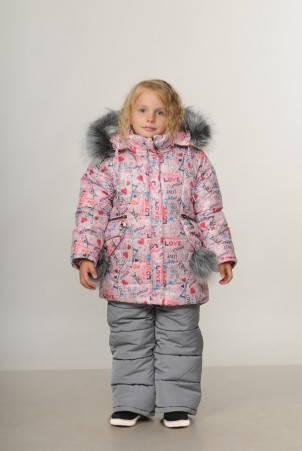 Детский зимний комбинезон для девочки «Love Paris» | размеры  92-110, фото 2