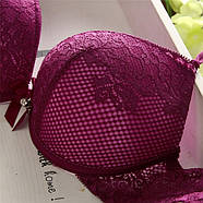 Комплект нижнего белья 75B (34B) red-violet, push up, набор женского белья с пуш ап, фото 3