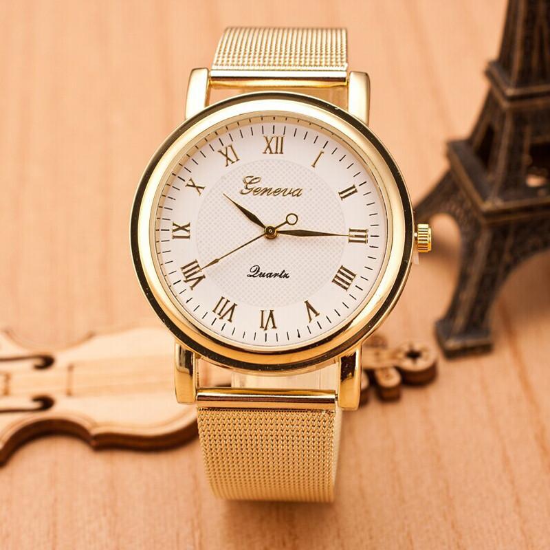 Женские часы Geneva Princess золотые с белым, наручний жіночий годинник, кварцевые наручные часы