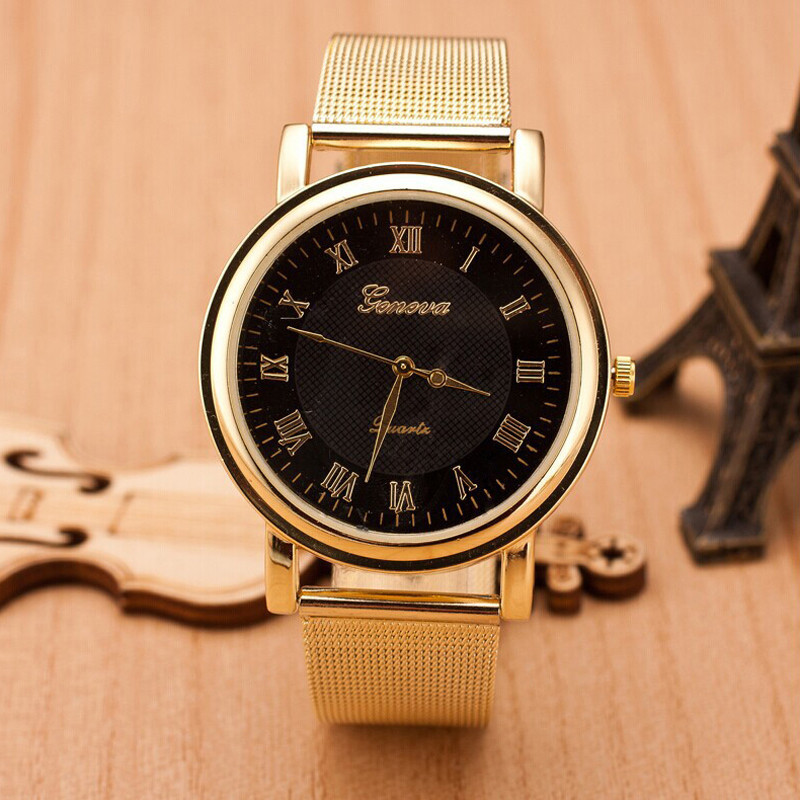 Женские часы Geneva Princess золотые с черным, жіночий наручний годинник, кварцевые наручные часы