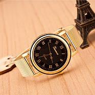 Женские часы Geneva Princess золотые с черным, жіночий наручний годинник, кварцевые наручные часы, фото 2