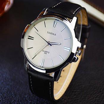 Мужские часы Yazole 332 белые с черным ремешком, Чоловічий наручний годинник, Мужские наручные часы
