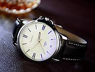 Мужские часы Yazole 332 белые с черным ремешком, Чоловічий наручний годинник, Мужские наручные часы, фото 2