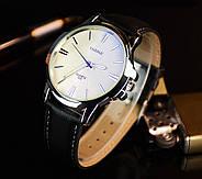 Мужские часы Yazole 332 белые с черным ремешком, Чоловічий наручний годинник, Мужские наручные часы, фото 3