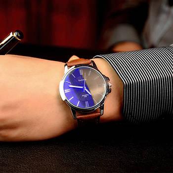 Мужские часы Yazole 332 черные с коричневым ремешком, Годинник наручний чоловічий, Часы наручные