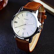 Мужские часы Yazole 332 белые с коричневым ремешком, Чоловічий наручний годинник, наручные часы, фото 3
