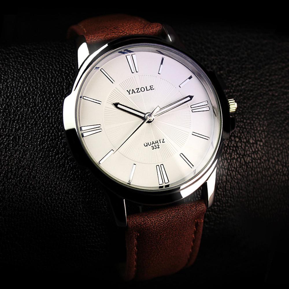 Мужские часы Yazole 332 белые с коричневым ремешком, Чоловічий наручний годинник, наручные часы