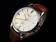 Мужские часы Yazole 332 белые с коричневым ремешком, Чоловічий наручний годинник, наручные часы, фото 2