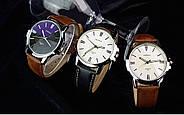 Мужские часы Yazole 332 белые с коричневым ремешком, Чоловічий наручний годинник, наручные часы, фото 4