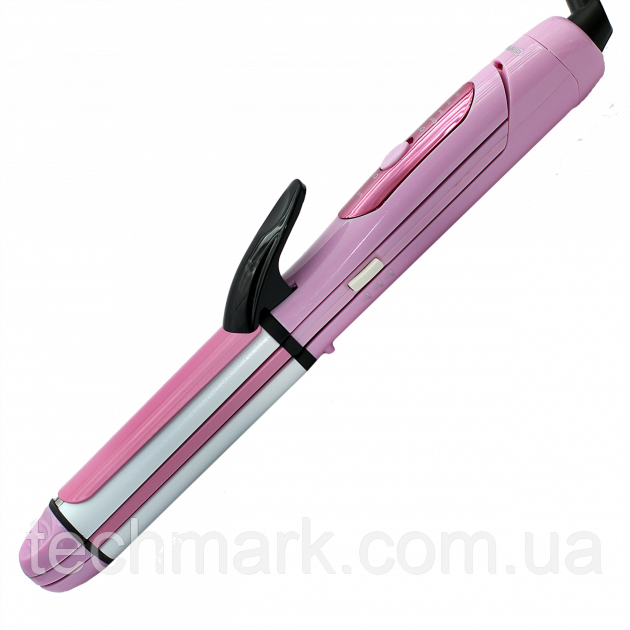 Многофункциональная плойка утюжок для волос 3в1 (плойка, утюжок, гофре) Gemei GM 2966 Pink