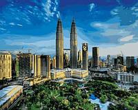 "Картина раскраска по номерам ""Башни Петронас. Малайзия "" на холсте 40х50 см. Babylon VP 823"
