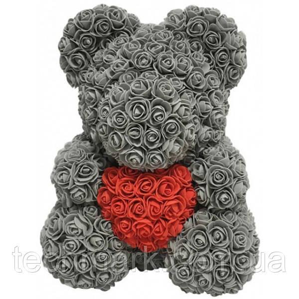 Мишка из роз Серый с сердцем UTM 40 см