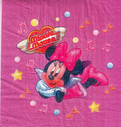 Салфетки бумажные детские  Минни Маус   15 штук