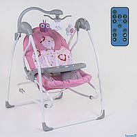 Детский шезлонг,электронная качеля 3в1 розовый
