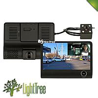 Автомобильный видеорегистратор UKC SD319 Full HD 1080P 3 камеры чёрного цвета