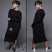 Женское длинное худи-платье, трехнитка на флисе с карманами, длинными рукавами и затяжками снизу (42-48)