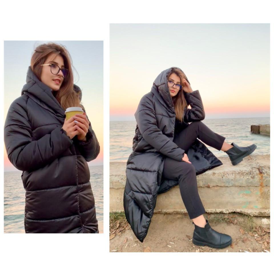 Пальто-пуховик ковдру зима OVERSIZE з капюшоном арт. 521 чорний