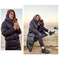 Пальто-пуховик ковдру зима OVERSIZE з капюшоном арт. 521 чорний, фото 1