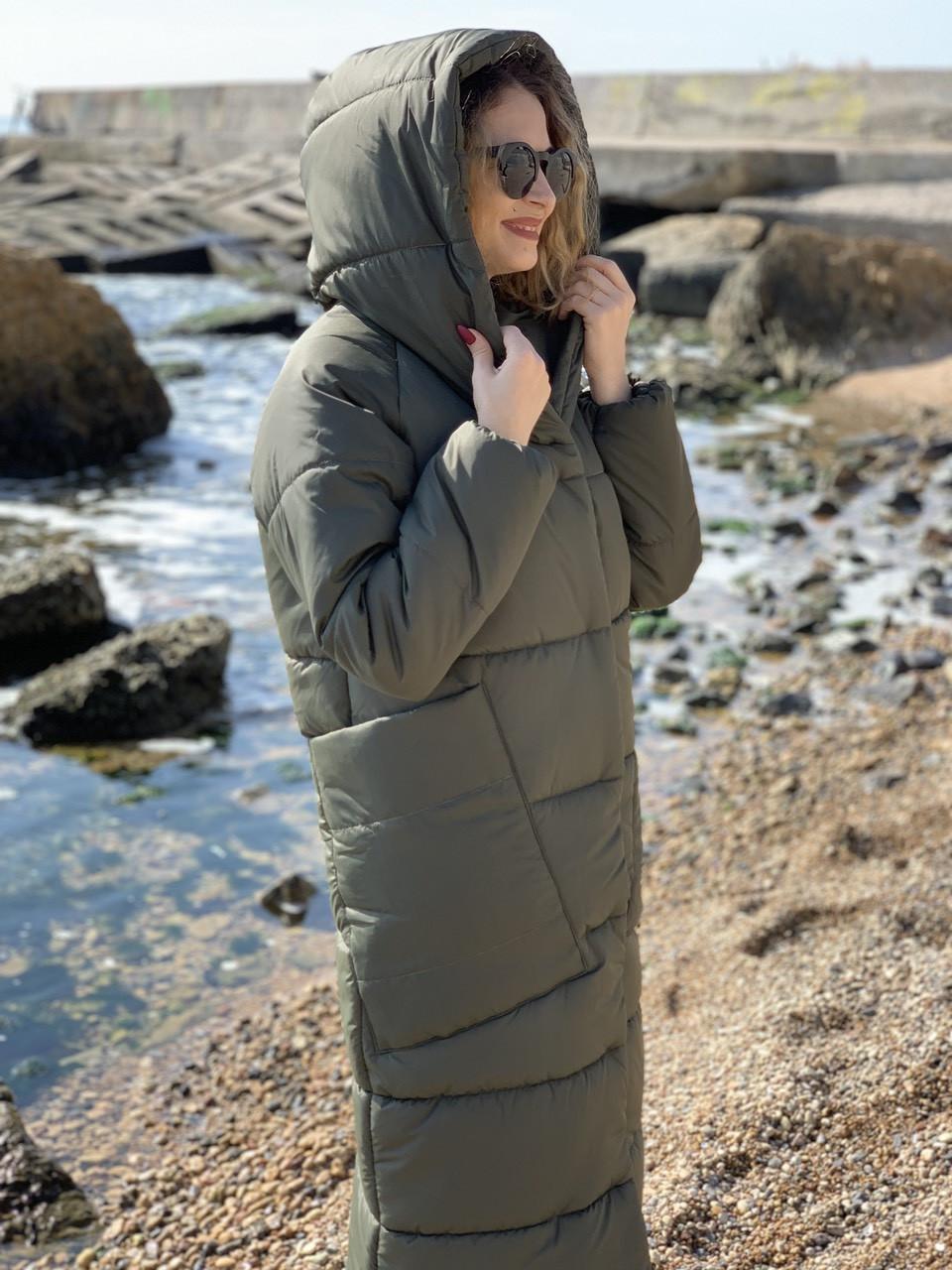 Пальто курка кокон Oversize зимова, артикул 500, колір сіро-зелений хакі