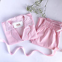 Пижама рубашка женская хлопковая в розовую полоску