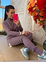 Вязаный теплый женский костюм лилового цвета, фото 1
