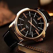 Мужские часы Yazole 358 черные с черным ремешком, Чоловічий наручний годинник, Часы наручные мужские, фото 2