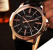 Мужские часы Yazole 358 черные с черным ремешком, Чоловічий наручний годинник, Часы наручные мужские, фото 3