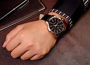 Мужские часы Yazole 358 черные с черным ремешком, Чоловічий наручний годинник, Часы наручные мужские, фото 4