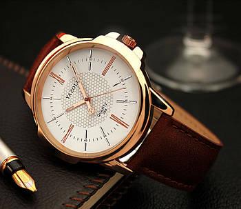Мужские часы Yazole 358 белые с коричневым ремешком, Чоловічий наручний годинник, Наручные часы мужские
