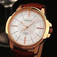 Мужские часы Yazole 358 белые с коричневым ремешком, Чоловічий наручний годинник, Наручные часы мужские, фото 3