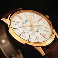 Мужские часы Yazole 358 белые с коричневым ремешком, Чоловічий наручний годинник, Наручные часы мужские, фото 4