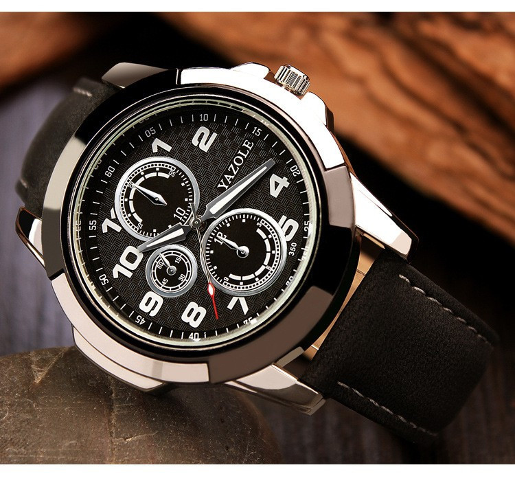 Мужские часы Yazole 350 черные с черным ремешком