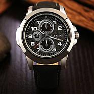Мужские часы Yazole 350 черные с черным ремешком, фото 2