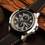 Мужские часы Yazole 350 черные с черным ремешком, фото 3